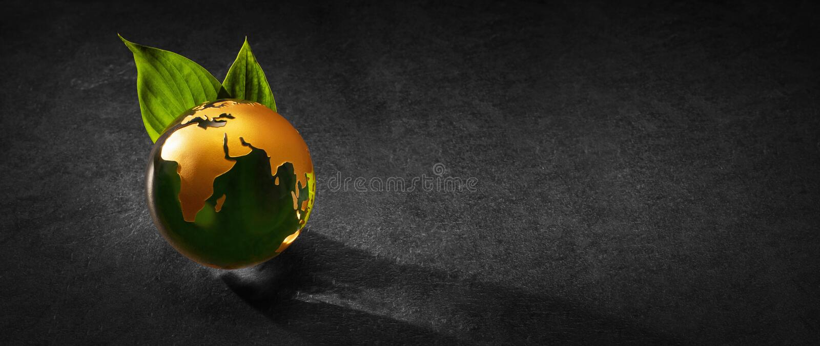 Planet Earth with Green Leaves. Environment Concept royalty free stock photography