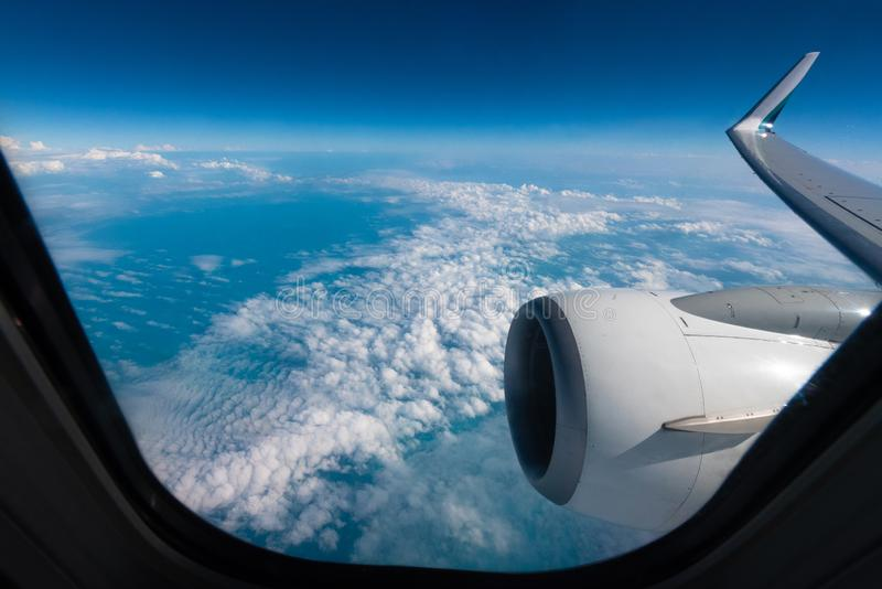 Planet Earth horizon seen from a commercial plane royalty free stock image
