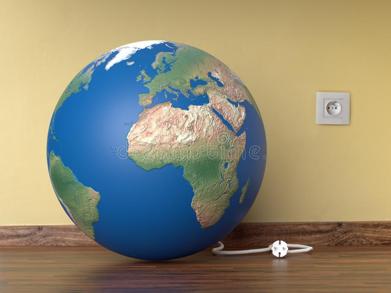 Planet Earth Hour concept. 3D render of planet Earth resting on room wooden floor with electrical wire unplugged from wall socket - Earth Hour concept vector illustration