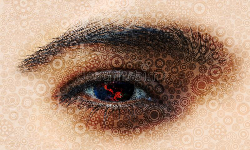 Planet Earth in human eye with cogs texture. world network technology.eye vision. Background wallpaper stock illustration