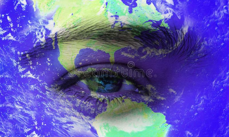 Planet Earth in human eye. world network technology.eye vision. stock illustration