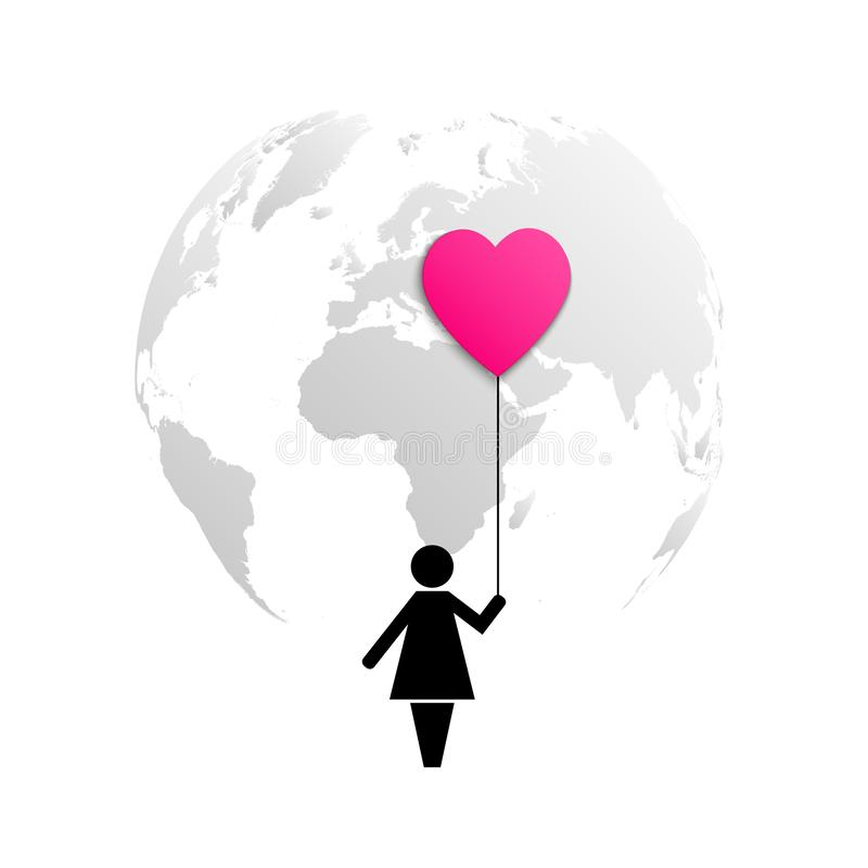 Planet Earth and icon of a woman holding red pink air balloon heart isolated on white background.  stock illustration