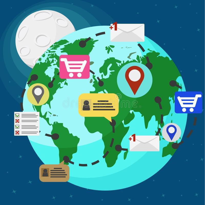 Planet earth and Internet technologies sending letters, shopping, chat communication. Planet earth and Internet technologies sending letters, shopping, chat royalty free illustration