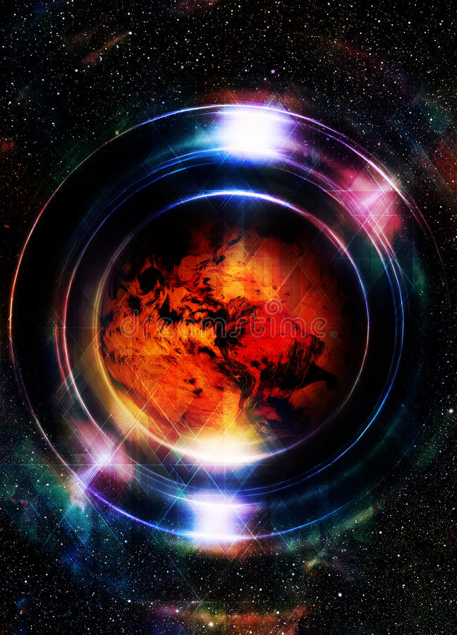 Planet Earth in light circle, Cosmic Space background. Computer. Collage. Earth concept. Elements of this image furnished by NASA royalty free illustration