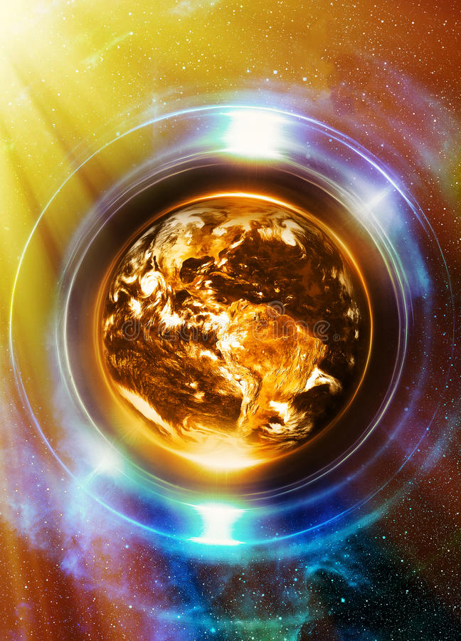 Planet Earth in light circle, Cosmic Space background. Computer. Collage. Earth concept. Planet earth in light rays. Elements of this image furnished by NASA vector illustration