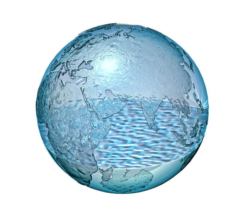 Planet Earth made of glass with a some water inside. vector illustration