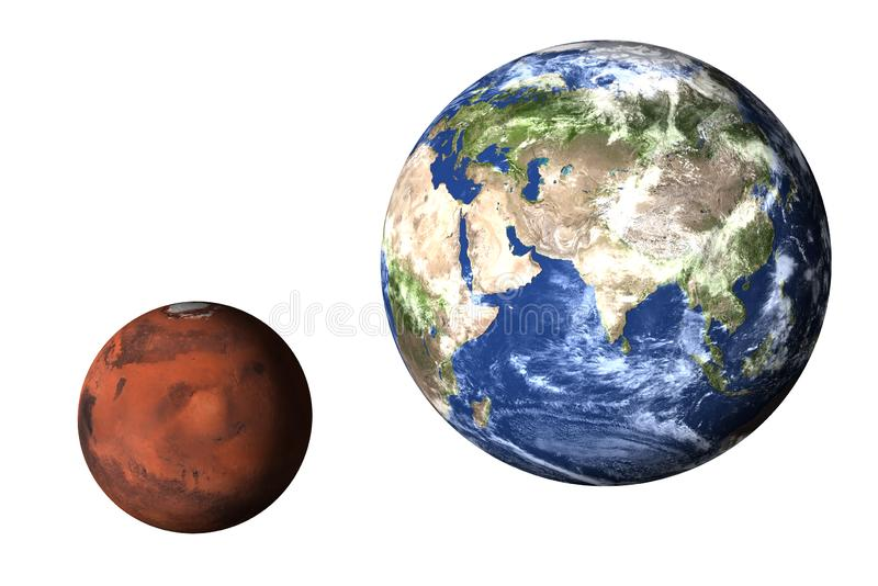 Planet Earth with mars of solar system isolated royalty free stock photos