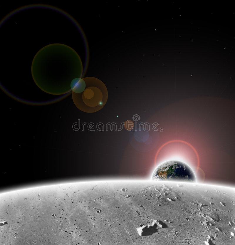 PLANET EARTH FROM THE MOON. Digital elaboration of images and textures, subject is planet earth viewed from our satellite the moon while the sun is on the royalty free stock image