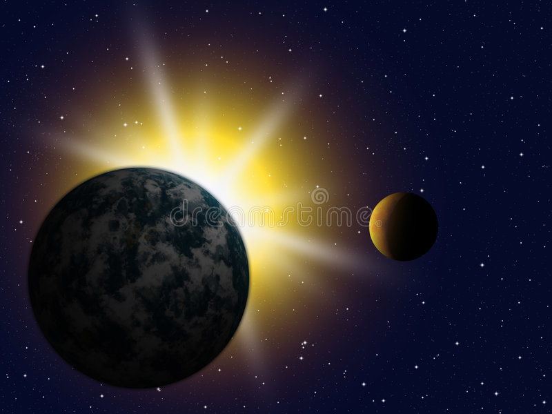 Planet earth and moon stock illustration