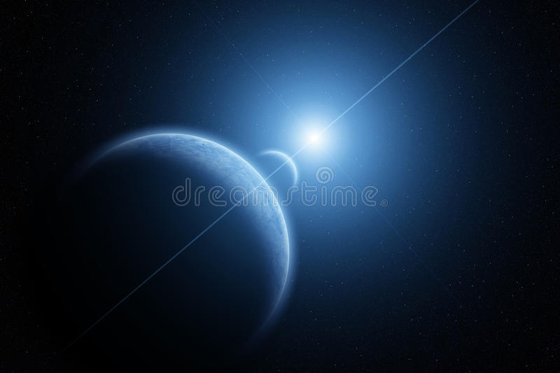 Planet earth with Moon and rising Sun royalty free stock photography