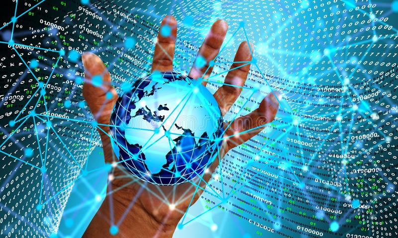 The planet earth network technology is in our hands. Technology background. background wallpaper stock illustration