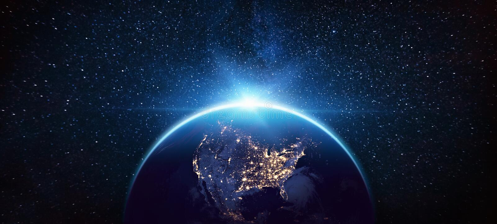 Planet Earth North America from the Space at Night royalty free stock image