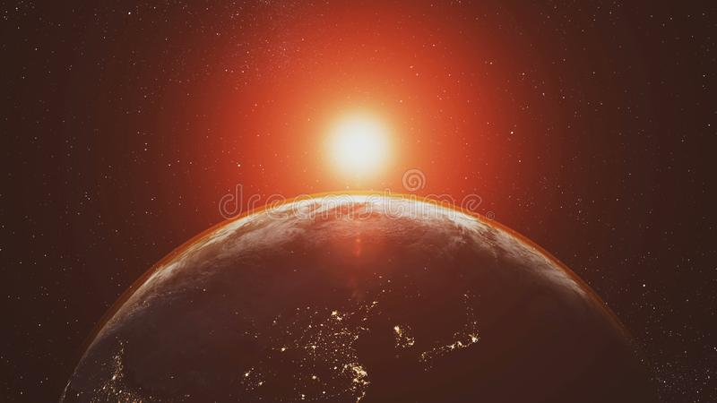 Planet earth orbit zoom in red sunlight radiance royalty free illustration