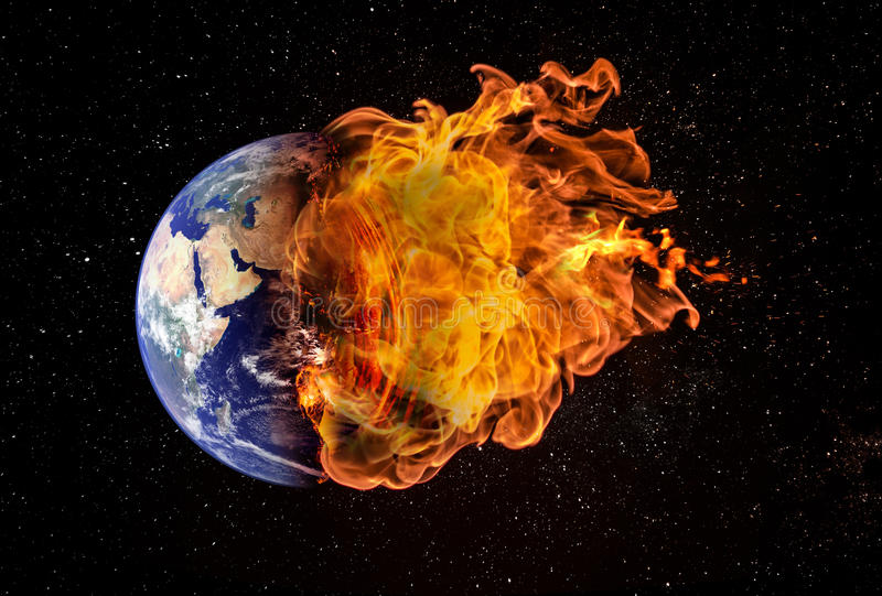 Planet Earth in Outer Space Engulfed in Flames. Concept of natural disasters, global warming, apocalypse, war, judgment day. Elements of this image used with royalty free stock photo