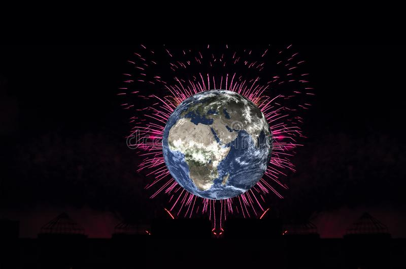 Planet earth with firework on black background. Elements of this image were furnished by NASA. Planet earth with pink heart firework on black background. Planet royalty free illustration
