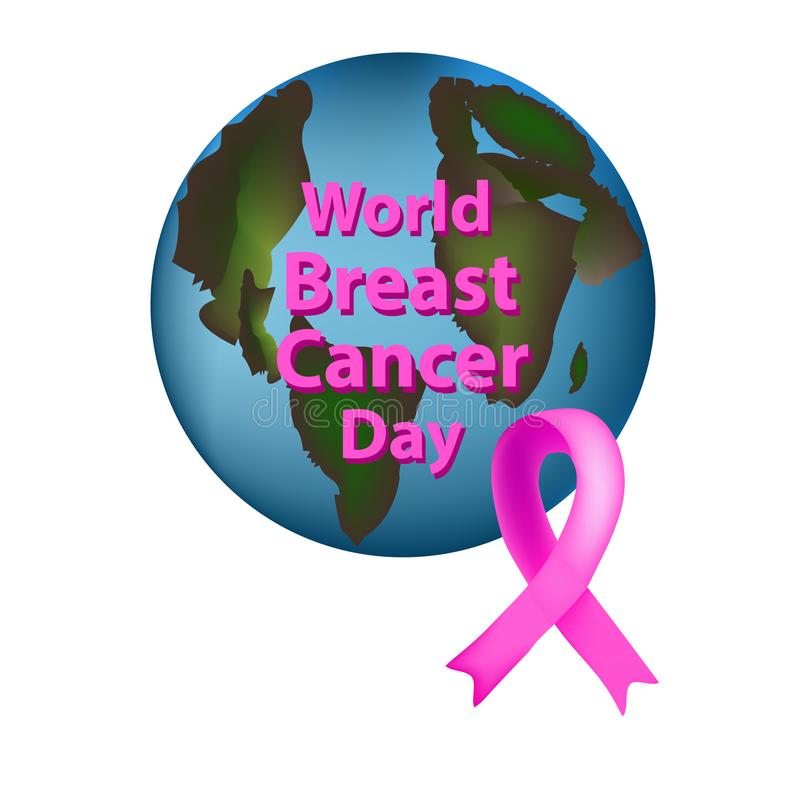 Planet Earth with a pink ribbon is World Breast Cancer Day. Vector illustration on isolated background. Planet Earth with a pink ribbon is World Breast Cancer stock illustration
