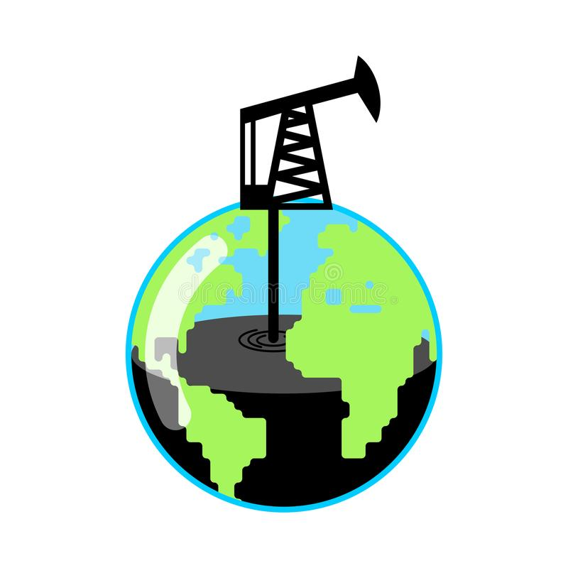 Planet Earth and Pump jack and Oil production. Petrol station. W. Orld Petroleum reserves stock illustration
