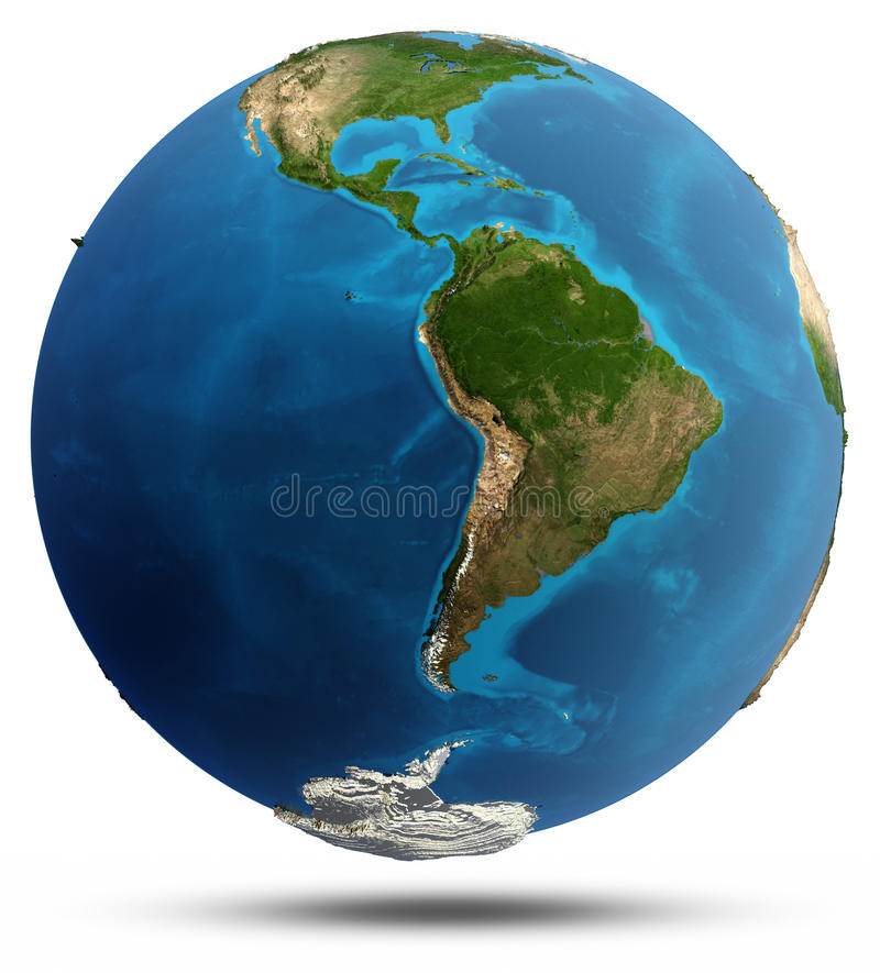 Planet Earth Real Relief And Water Stock Illustration