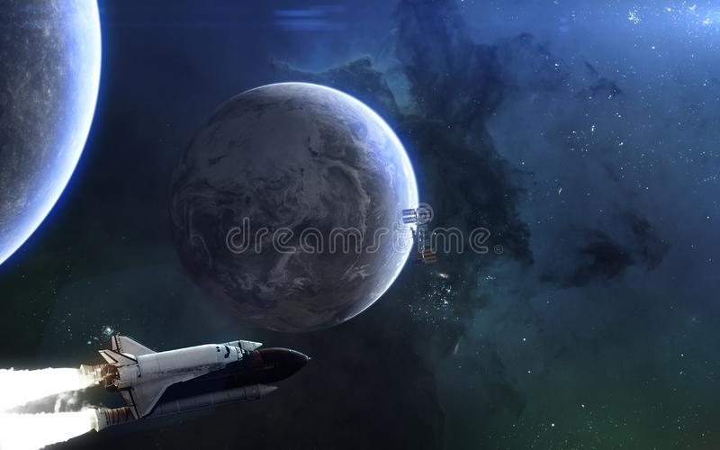 Planet Earth, rear of the Moon, space shuttle. Solar system in blue light. Science fiction art stock illustration