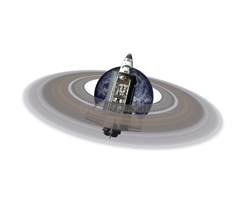 Planet Earth with ring near space shuttle isolated stock photos
