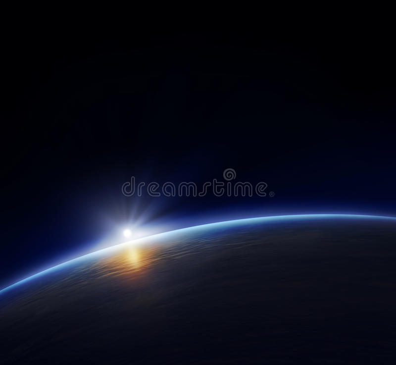 Planet earth with rising sun stock illustration
