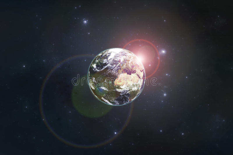 Planet Earth with the rising sun royalty free illustration