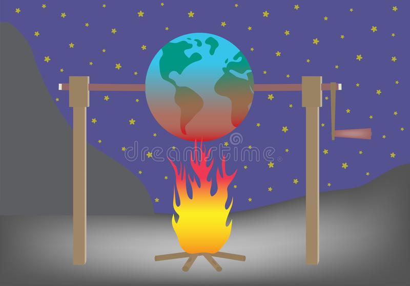 Planet earth roasting over fire Global warming concept vector illustration