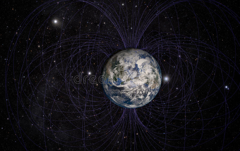 Planet Earth's magnetic field vector illustration