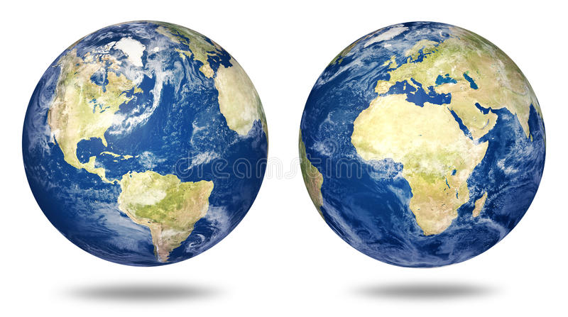 Planet earth set on white royalty free illustration