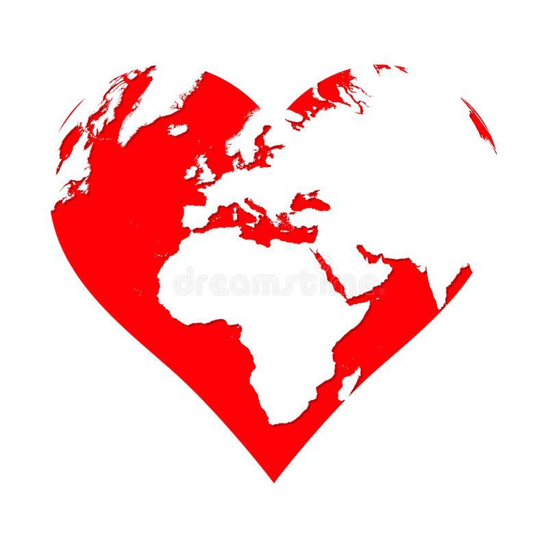 Planet Earth in the shape of a red heart. Love symbol isolated on white background stock illustration