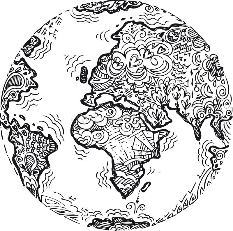 Coloring Planet earth sketched doodle stock photo