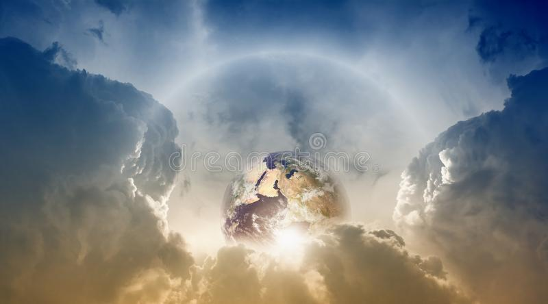 Planet Earth in sky stock photos