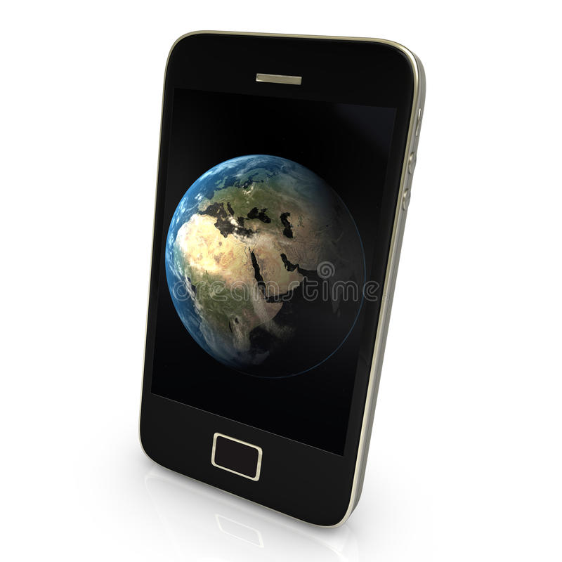 Planet Earth on smartphone royalty free stock image