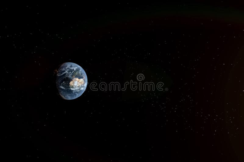 Planet earth in space background. collage. Of computer graphics planet earth and stars stock illustration