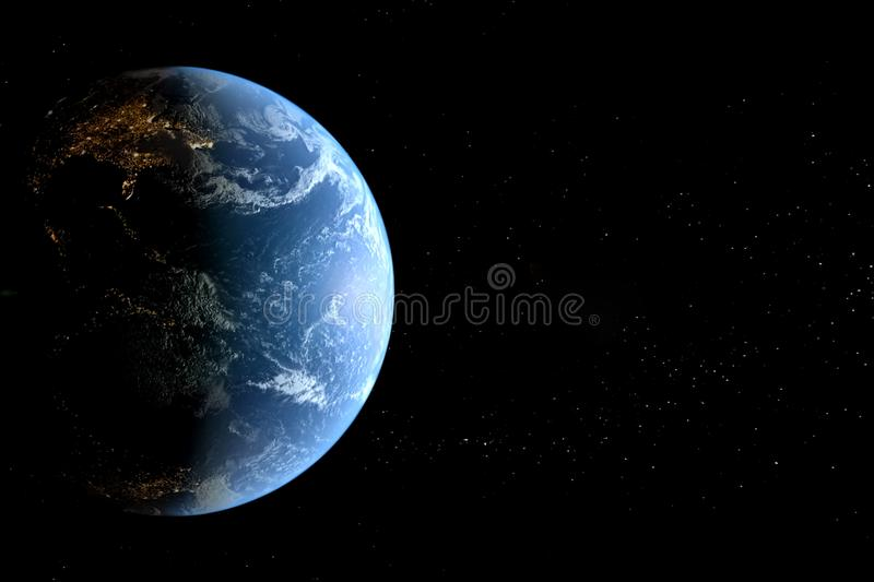 Planet earth in space background. collage. Of computer graphics planet earth and stars vector illustration