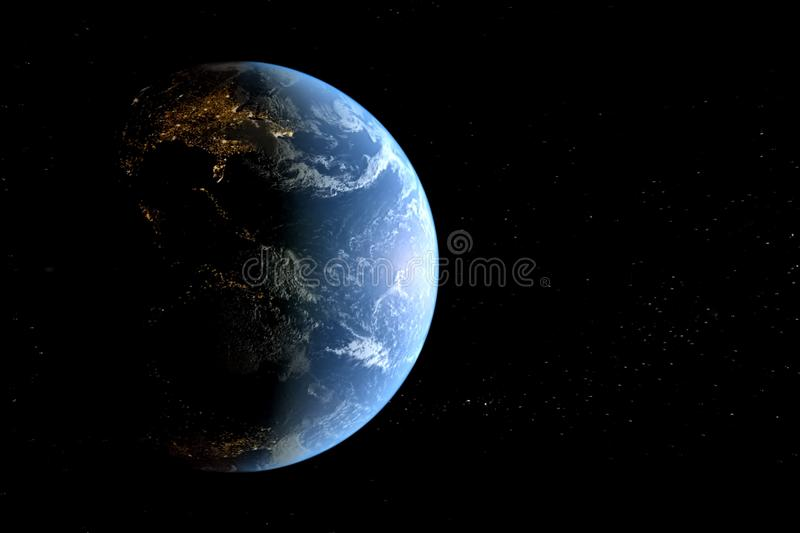 Planet earth in space background. collage. Of computer graphics planet earth and stars royalty free illustration
