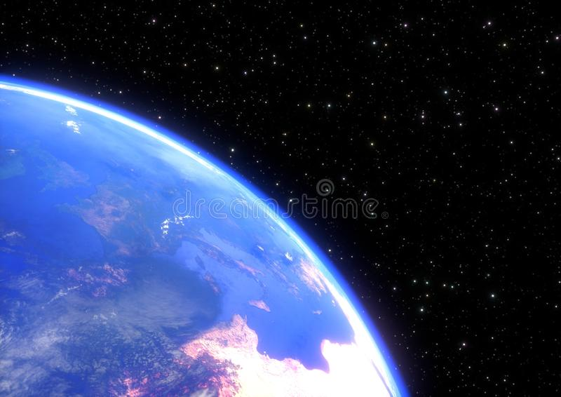 Planet earth in space closeup - 3D render stock illustration