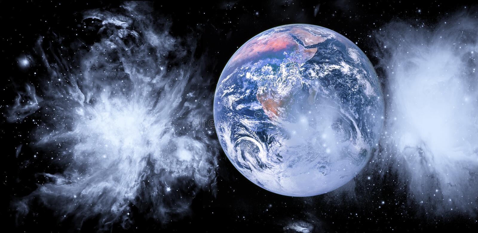Planet Earth from the space with space clouds. Cosmic panoramic landscape. Some elements of this image are furnished by NASA royalty free stock images