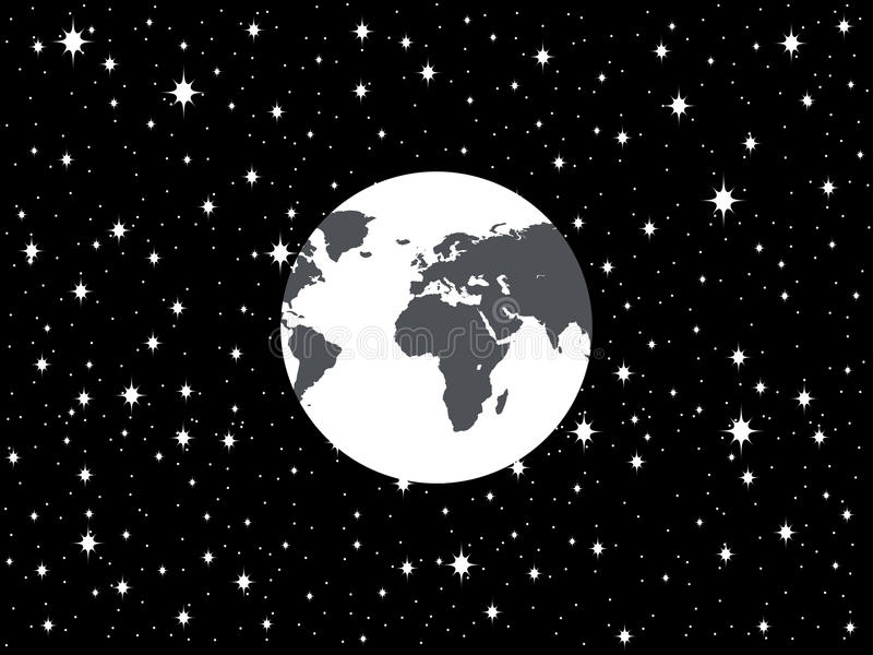 Planet Earth and space in a flat style. Star background. Vector vector illustration