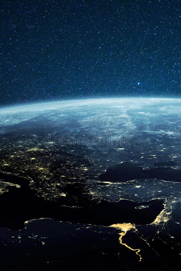 Planet earth from the space at night. Amazing planet Earth with night city lights. Planet earth from the space at night. Amazing planet Earth with night city royalty free illustration