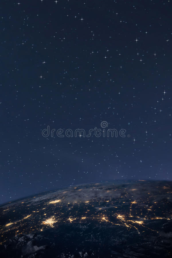 Planet earth from the space at night. Some elements of this image are furnished by NASA royalty free stock photo