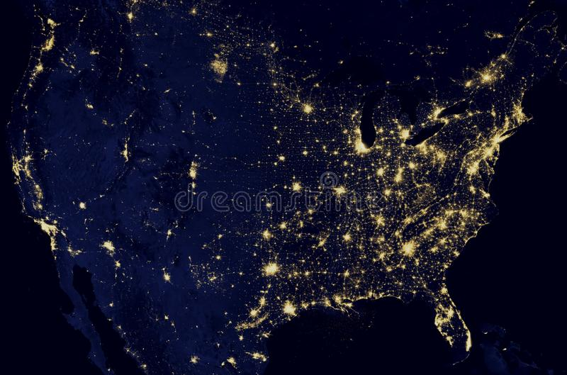 Satellite image of planet earth North America at night, satellite map. Planet earth from the space at night . Some elements of this image furnished by NASA stock photos