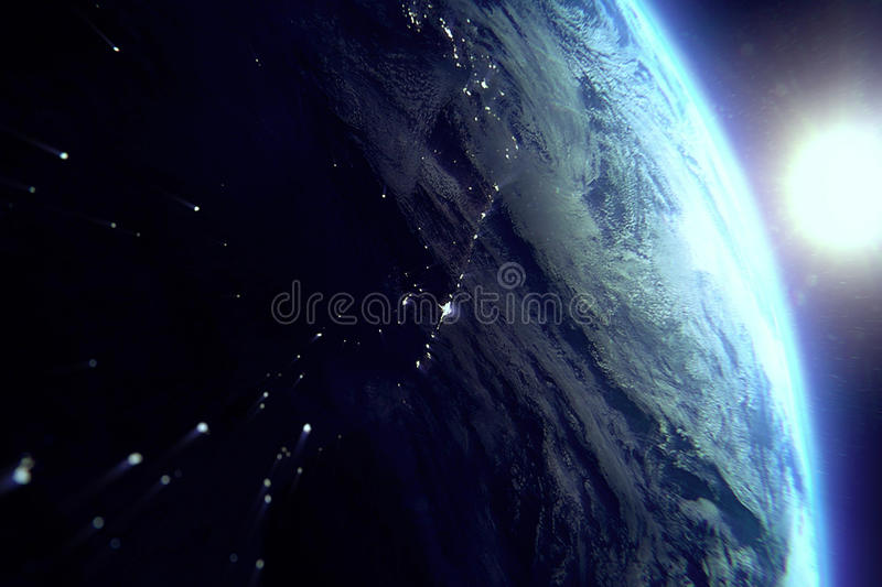 Planet earth from the space at night with sun near royalty free illustration