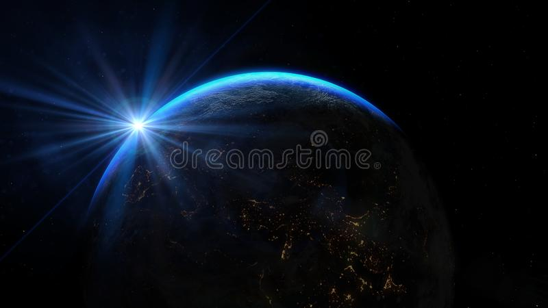 Planet earth from the space at night. Sunrise illuminate the earth in outer space.  stock photos
