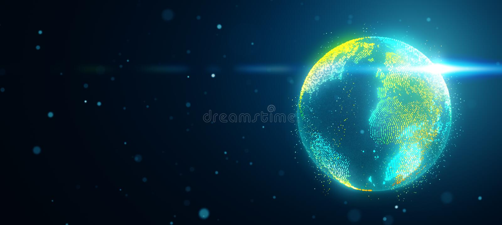 Planet earth in space with obscured flare vector illustration