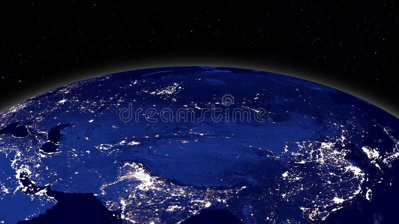 Planet earth from space. Realistic world globe spinning slowly animation. stock image