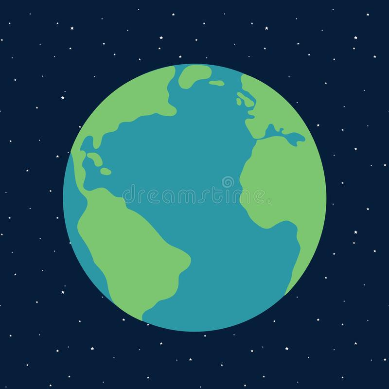 Planet earth in space starry sky illustration vector vector illustration