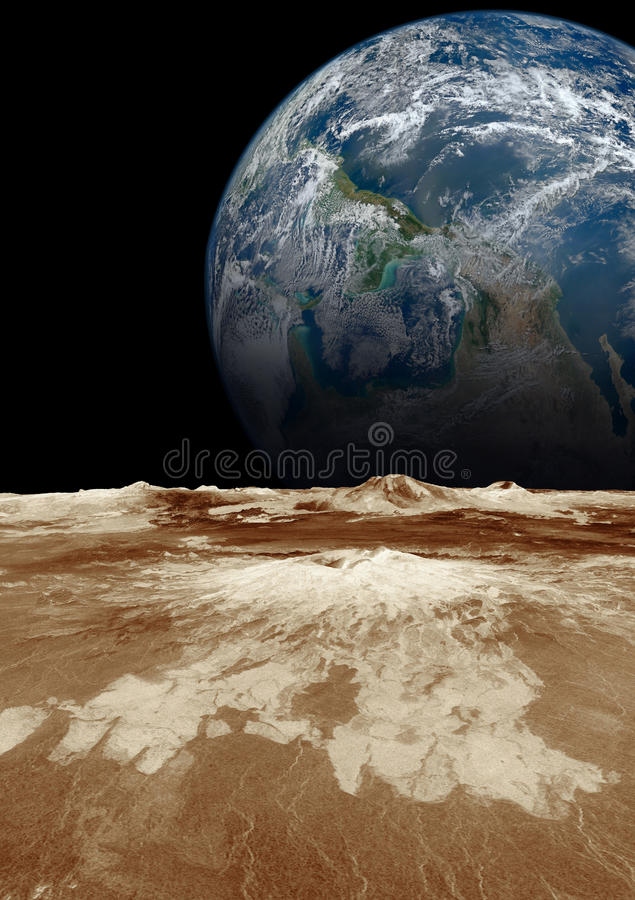 Planet earth in the space. Planet earth in the space view from moon. Elements of this image furnished by NASA stock photo