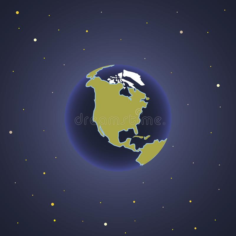 Planet Earth space view vector illustration