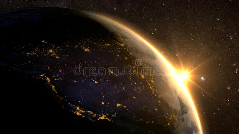 Planet Earth with a spectacular sunrise, royalty free stock photography